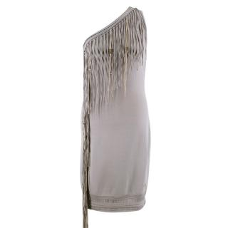 Roberto Cavalli One Shoulder Fringed Dress