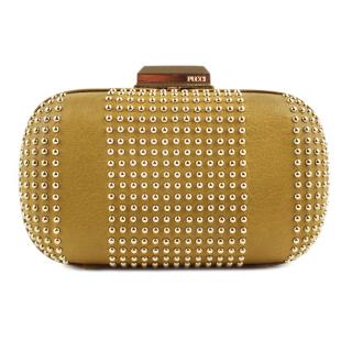 Emilio Pucci Mustard Leather Gold Studded Box Clutch