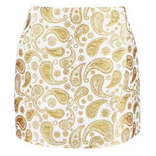 Stella McCartney White Gold Jacquard A-Line Mini Skirt