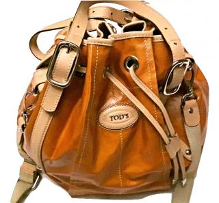 Tod's orange coated canvas drawstring bucket bag