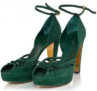Gucci Green Suede Peep-Toe d'Orsay Pumps