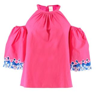 Peter Pilotto Pink Cold Shoulder Top
