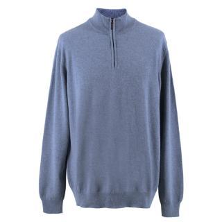 Johnstons Of Elgin Blue Zip Cashmere Jumper