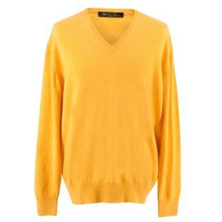 Loro Piana Yellow V-Neck Cashmere Jumper