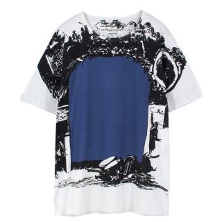Balenciaga White and Blue Printed T Shirt