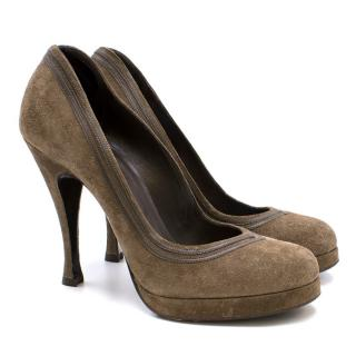 Balenciaga Brown Suede Pumps