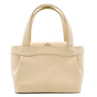 Manolo Blahnik Cream Small Top Handle Bag