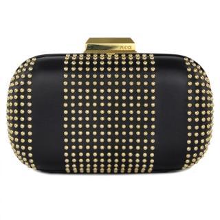 Emilio Pucci Black Gold Studded Leather Box Clutch