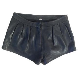 IRO Daphne 100% lamb leather black pleated shorts