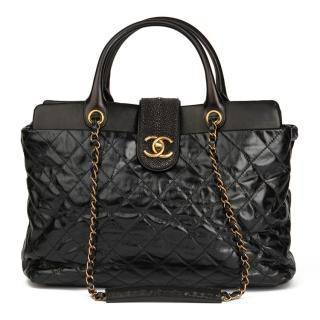 Chanel Black Calfskin, Lambskin & Stingray Large Bindi CC Tote