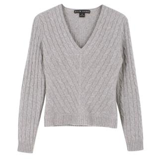 Ralph Lauren Grey Cable Knit Cashmere Sweater