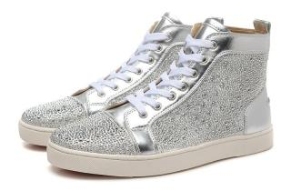 Christian Louboutin Silver Strass High Top Sneakers