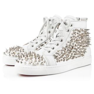Christian Louboutin men's studded white high trainers