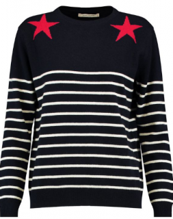 Chinti and Parker Stars Striped Wool-Cashmere Jumper