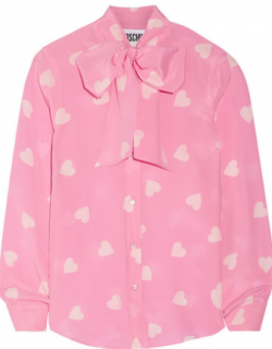Mochino Couture Pussy-bow Printed Silk Blouse