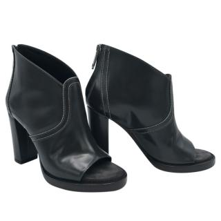 Brunello Cucinelli anthracite leather peep toe ankle shoe boots