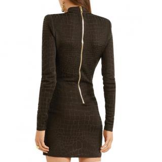 Balmain black croc effect knitted mini dress