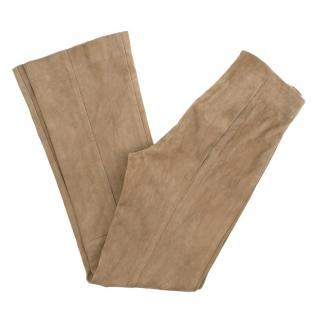 The Row Kick Flare Suede Trousers