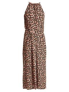 Raey Gathered Halter-Neck Ditsy Print Silk Dress