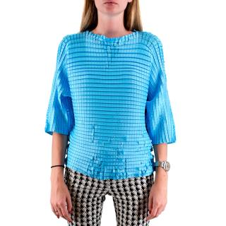 Issey Miyake Blue Pleated Top