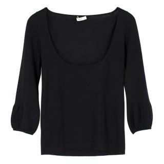 Prada Black Cashmere Low Cut Sweater