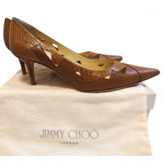 Jimmy Choo tan nappa pumps