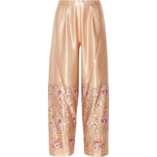 Anna Sui embroidered satin wide-leg pants