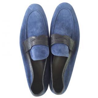 Moreschi blue suede loafers
