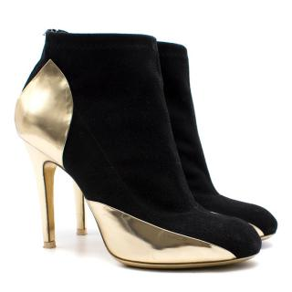 Maison Martin Margiela Black Suede and Gold Boots