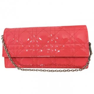 Christian Dior Patent Lady Dior Chain Wallet