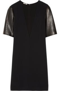 Miu Miu Leather-sleeved cady shift dress