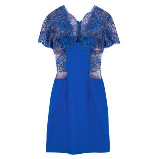 Christopher Kane Blue Lace-Panelled Wool-Crepe Dress