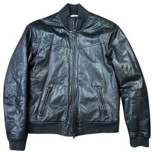 Armani Jeans Leather Blouson Bomber Jacket