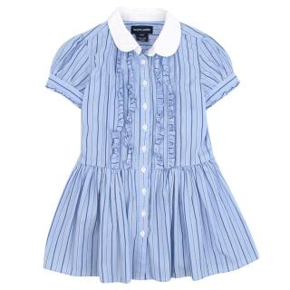 Ralph Lauren Girl's Blue Pinstriped Dress