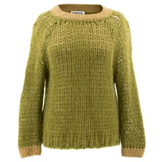 Essentiel Antwerp Green and Gold Mohair Sweater