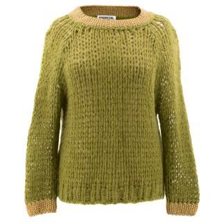 Essentiel Antwerp Green and Gold Mohair Sweater