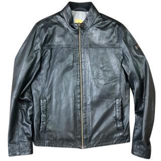 Hugo Boss Jips 5 Leather Cafe Racer Biker Jacket