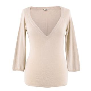 Prada Beige Cashmere V-Neck Sweater