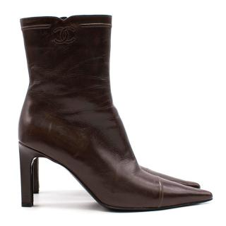 Chanel Brown Pointed Toe Boots