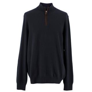 The Men's Store Bloomingdales Navy Cashmere Sweater