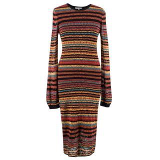 Ronny Kobo Striped Crochet Midi Dress