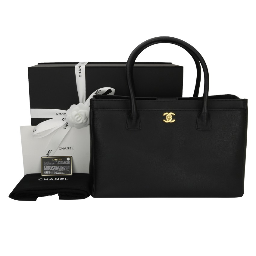 4e18ed5ef70de4 Chanel Black Calfskin Executive Cerf Tote Bag | HEWI London