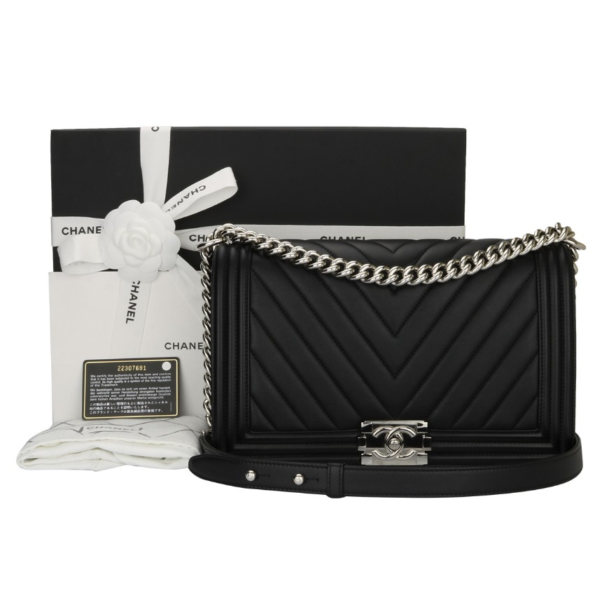 b50b80089668 Chanel Black Calfskin New Medium Chevron Boy Bag