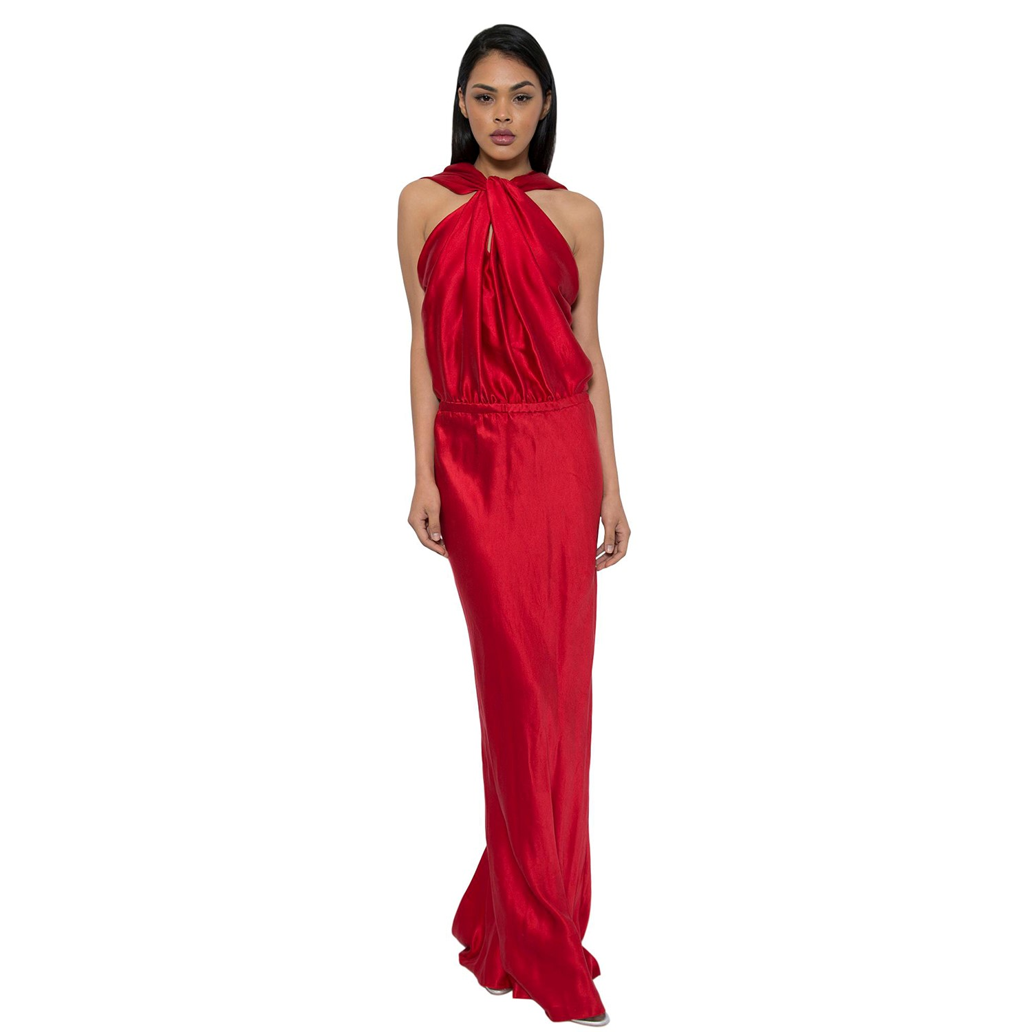 Lanvin Red Silk Draped Gown