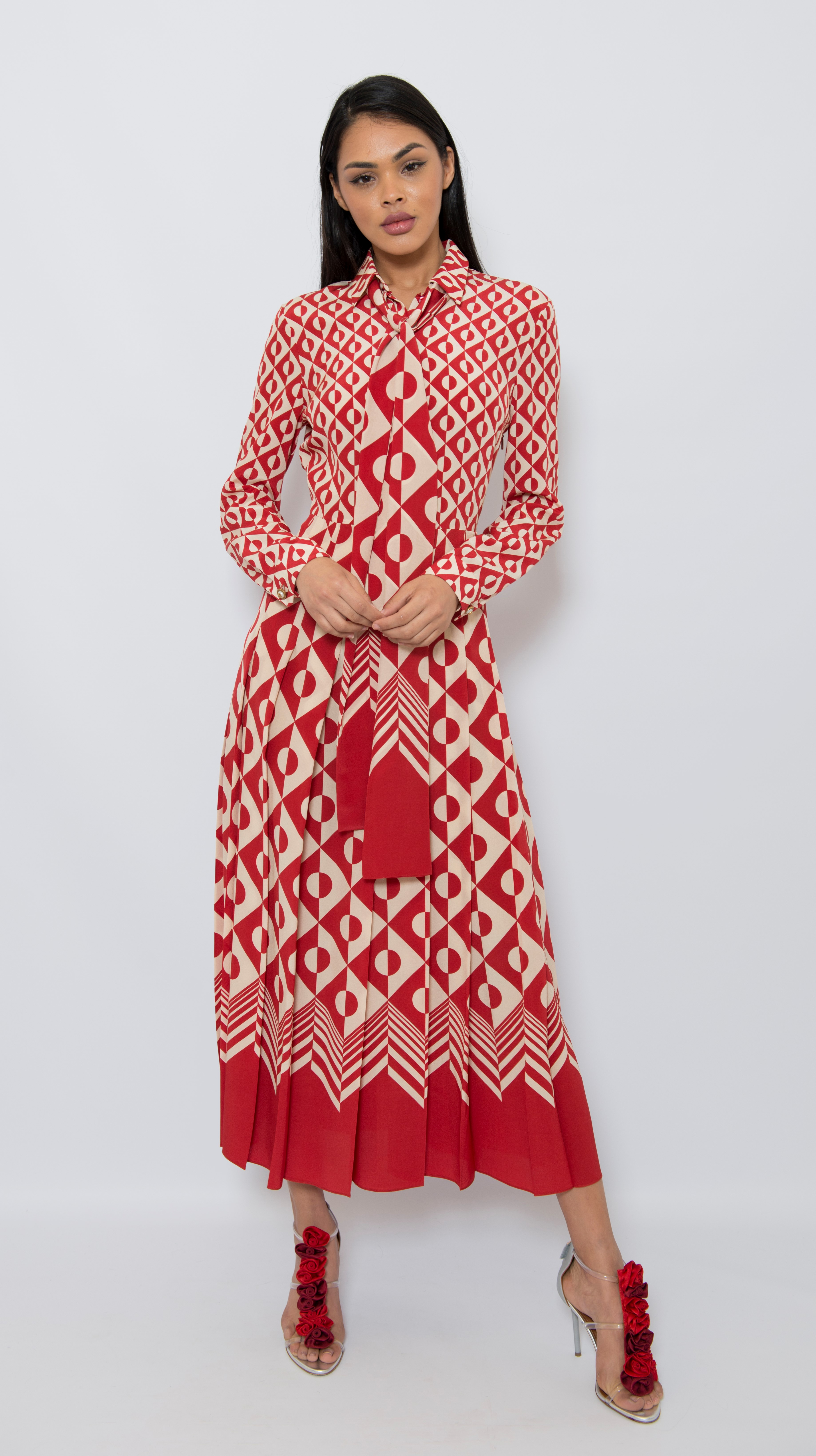 Gucci Silk Patterned Pleated Dress
