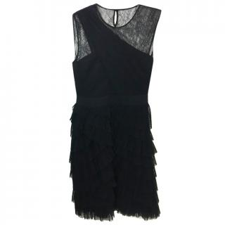 BCBG Max Azria Black Lace Ruffled Dress