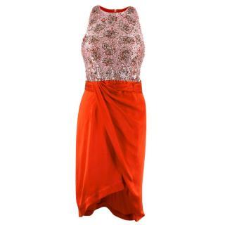 Rachel Gilbert Red Embellished Silk Dress