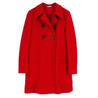 Miu Miu Red Double Breasted Wool Coat