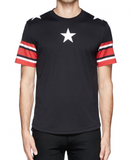 Givenchy Men's Red Star Stripe Print T-shirt