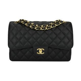 CHANEL Jumbo Double Flap Black Caviar Bag